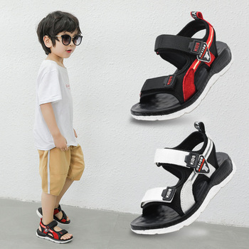 2019 Boys Sport Sandals Summer Korean Children's Genuine Leather Sandals Non-slip Casual Beach Shoes Soft Flat Shoes Size 26-37