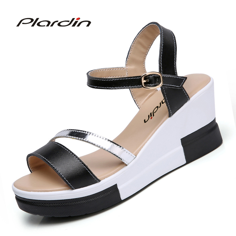 plardin 2018 women shoes summer Narrow Band Buckle Strap style flat heel soft leather casual Ankle Strap woman beach sandals lucyever women vintage square toe flat summer sandals flock buckle casual shoes comfort ankle strap women footwear mujer zapatos