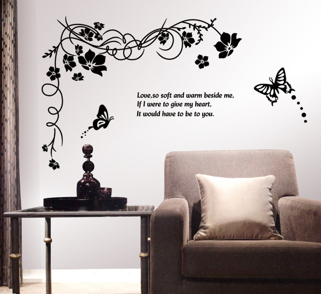 Corner Wall Art large flower butterfly wall corner stickers removable pvc home