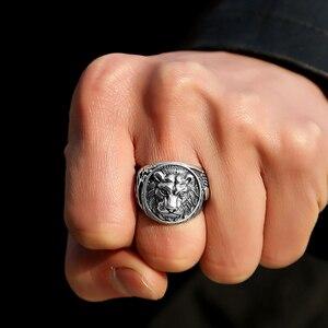 Image 5 - ZABRA 100% naprawdę twarde 925 srebrny pierścień mężczyzna lew pierścień w stylu Vintage Steampunk Retro Biker mężczyzna srebro biżuteria Anel Masculino