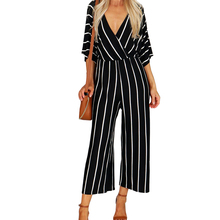 Ladies Sexy Striped Jumpsuit Autumn 3XL White Black Wide Leg Pants
