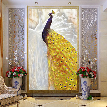 Custom Photo Wallpaper European Style Gold Peacock Mural Chinese Living Room Entrance Corridor Home Decor 3D Wall Painting