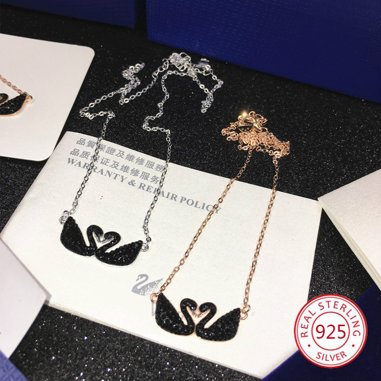 S925 sterling silver pendant necklace personality fashion wild double swan shape sweater chain birthday gift 2019 new hot