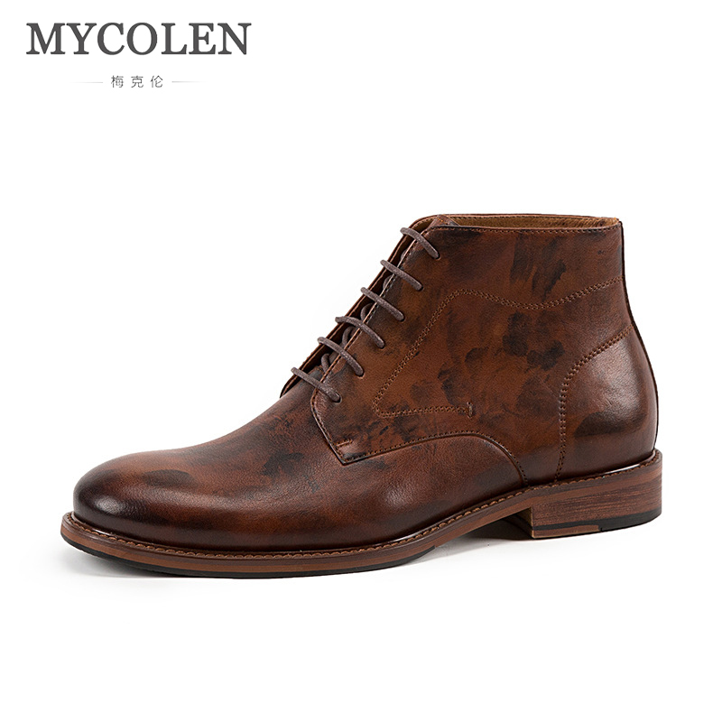 MYCOLEN Genuine Leather Men Boots Autumn Winter Ankle Boots Fashion Footwear Lace Up Shoes Men High Quality Vintage Men Shoes genuine leather men boots autumn winter ankle boots fashion footwear lace up shoes men high quality vintage men shoes qy5