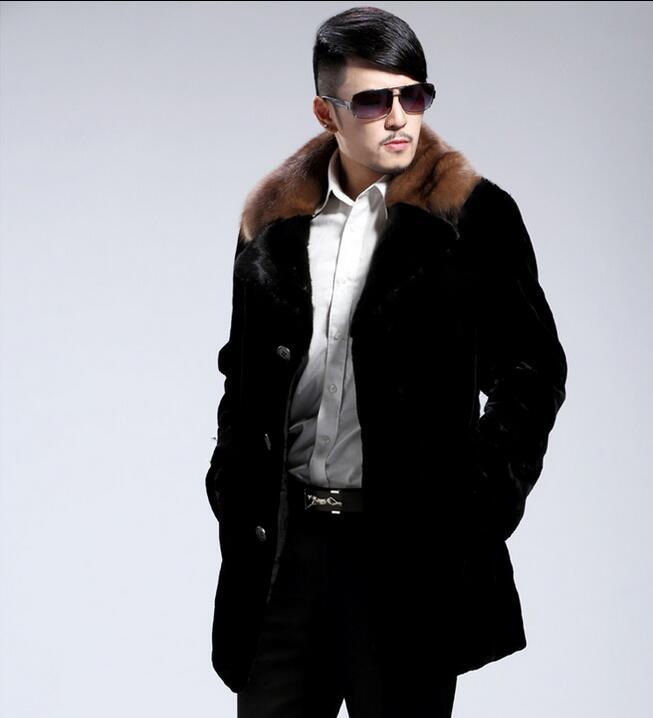 Winter mens faux marten fur coats thicken warm medium-long overcoat mens mink hair leather coats masculino chaqueta hombre