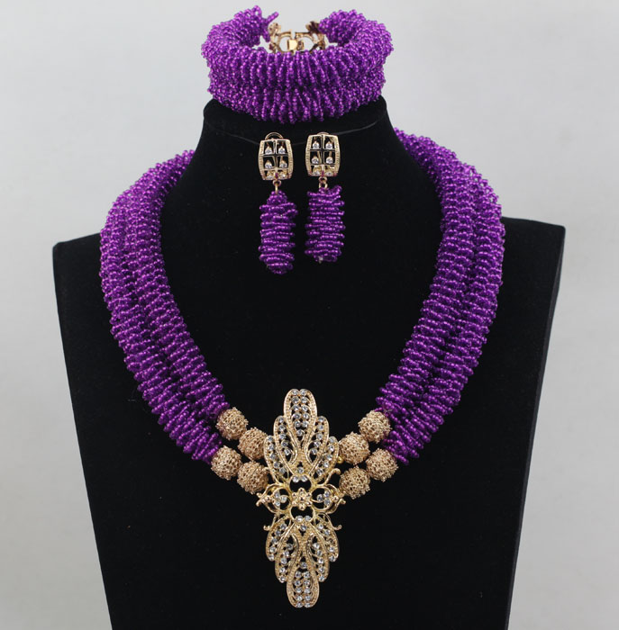 New Multicolor Nigerian Purple Mix Gold AccessorY African Beads Jewelry Set Crystal Beads Necklace Jewelry Set Free Ship ALJ729 все цены