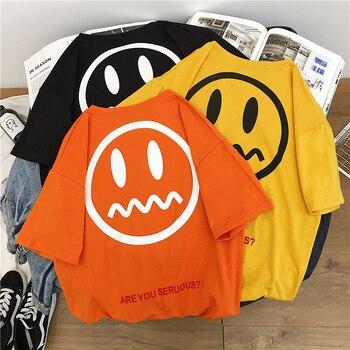 Tshirt Women Harajuku Emoji Face Printed Kawaii Ulzzang Korean Style Clothes Cotton Streetwear Aesthetic haut femme tee shirt