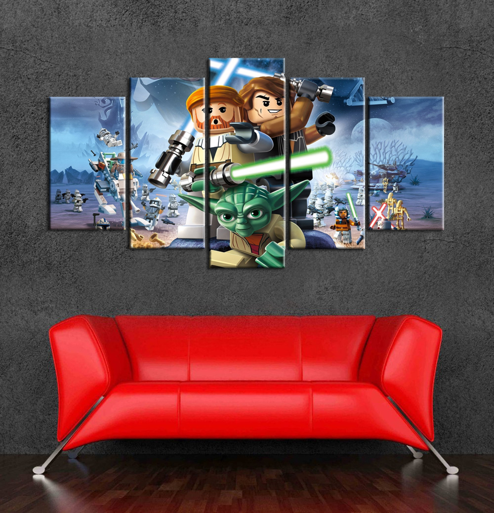 2017 Top Fashion Cartoon Posters Lego Star Wars Wall Art Canvas Painting 5  Pieces Wall Pictures For Baby Living Room Umunframed In Painting U0026  Calligraphy ... Part 67