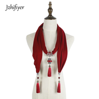 Jzhifiyer النساء سبائك قلادة وشاح قلادة التفاف المجوهرات الأنثوية الأزياء القطن والأوشحة والمجوهرات قلادة المرأة شال طويل أحمر
