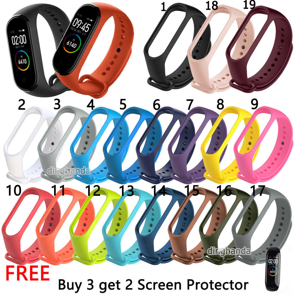 Colorful Silicone Watch strap For Xiaomi Mi Band 4 Bracelet for Miband 4 Smart Watch Replacement Wristband for mi band 4 Strap