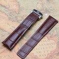 20 мм 22 мм Браун Крокодил зерна Кожаный Ремешок Для Часов Из Нержавеющей стали Пряжка развертывания Продвижение горячий новый