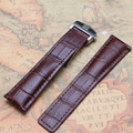 20mm 22mm Brown Crocodile grain Leather Watchband Stainless steel Buckle deployment Promotion hot new