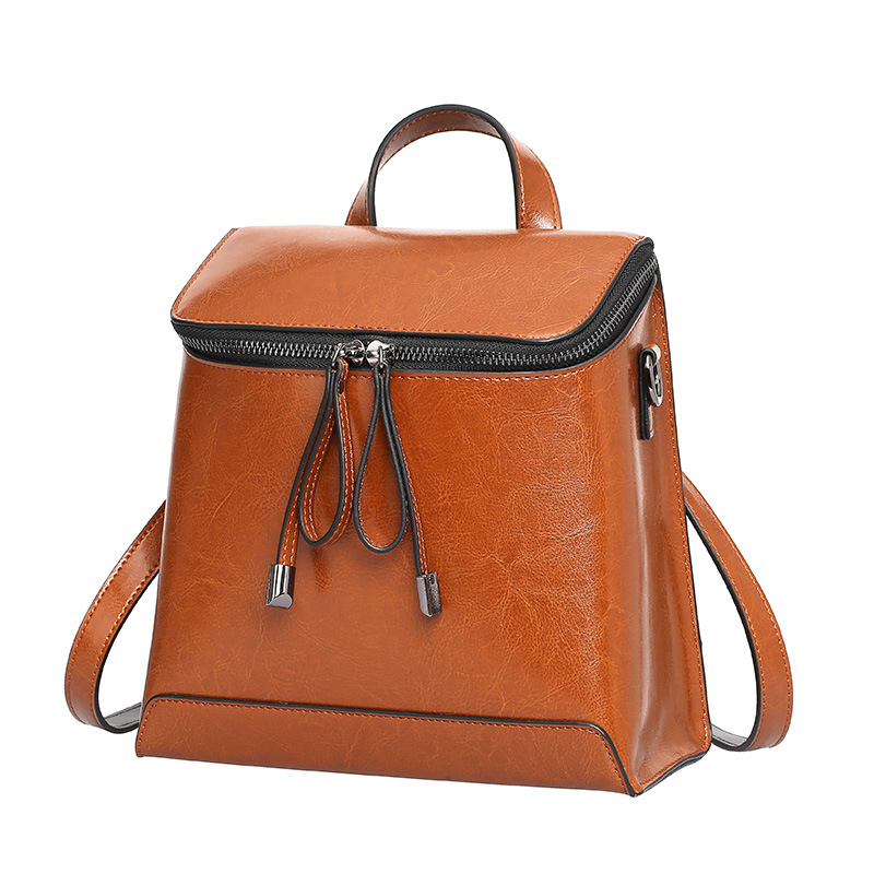 European and American Style Retro Genuine Leather Women Backpack All-match Solid color Travel Bags Student School BagEuropean and American Style Retro Genuine Leather Women Backpack All-match Solid color Travel Bags Student School Bag