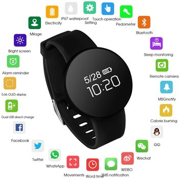 HATOSTEPED Relógio Inteligente À Prova D' Água Esporte Rastreador Dispositivo Wearable Pedômetro Pulseira Rodada 0.66 OLED Do Bluetooth Para Ios Android