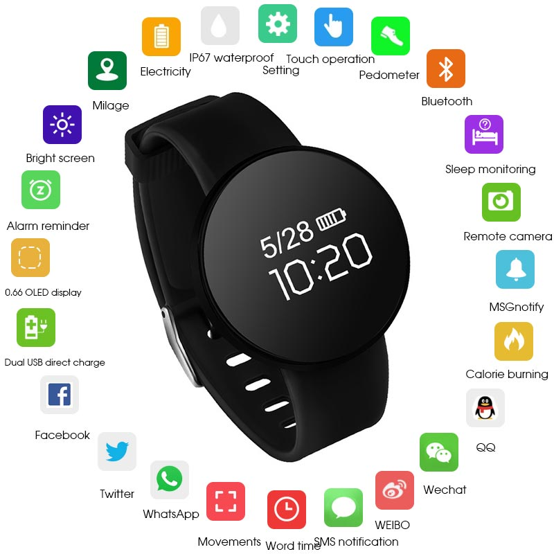 HATOSTEPED reloj inteligente Bluetooth impermeable deporte Tracker Dispositivo portátil podómetro muñequera ronda 0,66 OLED para Ios Android