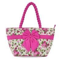 Women Beach Canvas Bag Fashion Thai Stripes Bow Knot Printing Handbags Ladies Large Shoulder Bag Totes