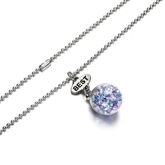Best Friends BFF Glass Ball Bottle Pendant Necklace