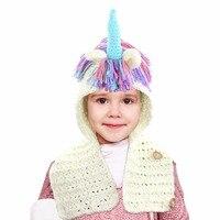 Meisjes Haak Eenhoorn Winter Hoed met Sjaal Kids Kinderen Hooded Katoen Breien Beanie Cosplay Kostuum Supply Drop Verzending