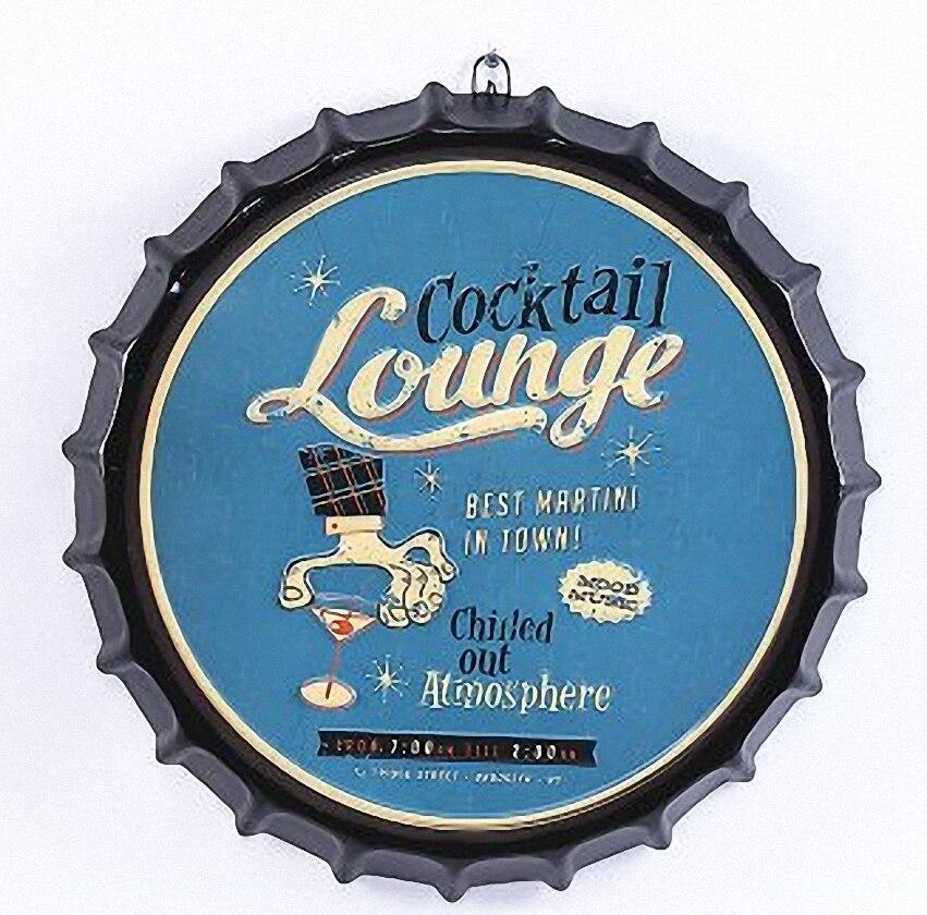 COCKTAL LOUNGE grande couverture de bière 3D étain signe Logo Plaque Vintage métal peinture mur autocollant fer signe Bar KTV café décor 42X42 CM