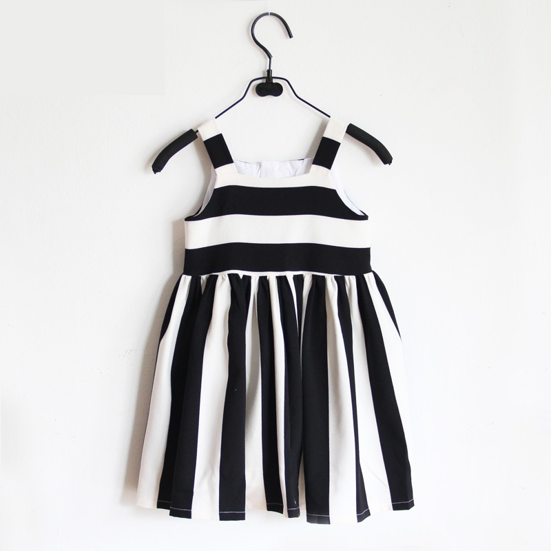 family look clothes bebe girls Summer dress parental black white striped formal dress mother and daughter evening party dresses