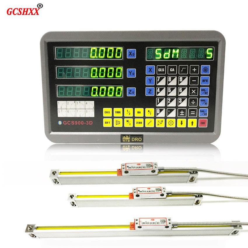 Complète de lecture numérique dro système ensemble GCS900-3D avec 3 pcs linéaire verre échelles 5u 500mm pour toutes les machines