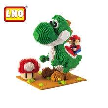 LNO action & toy figures big size diy Mario models nanoblock micro diamond building blocks mini bricks educational toys for kid.