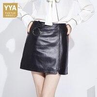 2019 New Fashion Office Ladies Bodycon Mini Skirts Top Quality Genuine Leather Summer Sexy Black Women Slim Fit High Waist Skirt