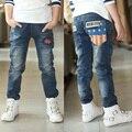 Детские джинсы мальчиков брюки ноги толстые бархатные большой девственный брюки падают и зимняя одежда свободного покроя джинсы 3 - 14 лет