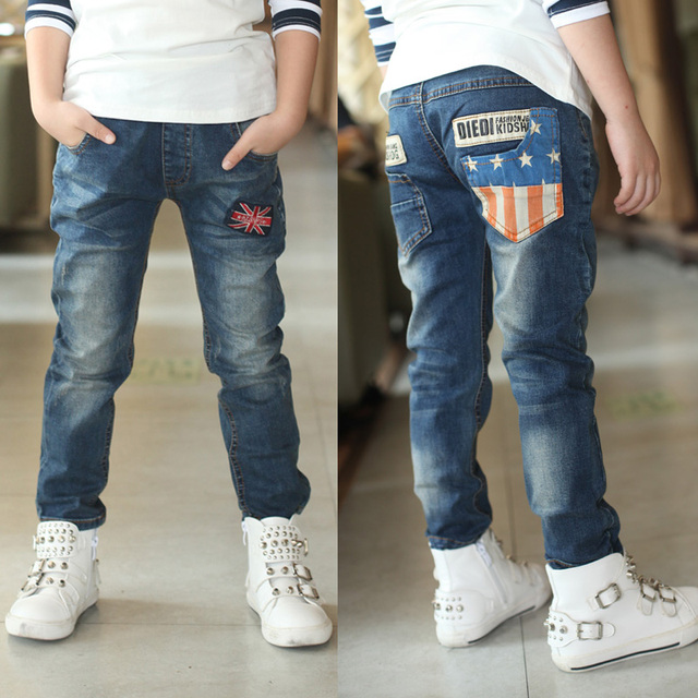 Children's jeans boys pants feet thick velvet big virgin cotton trousers fall and winter clothes Casual jeans 3-14 years old
