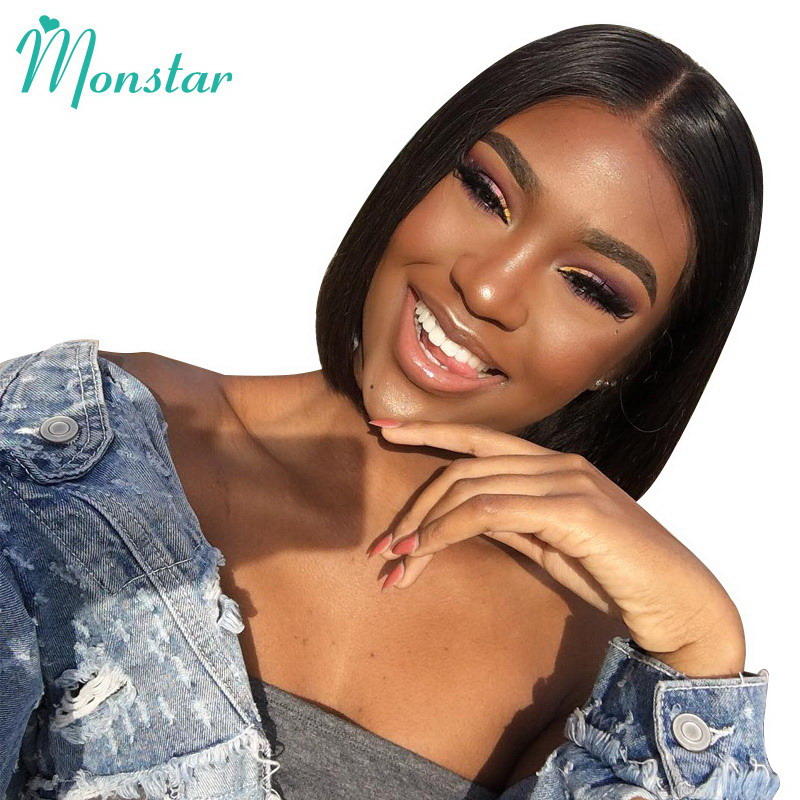 Monstar 13x6 Lace Frontal Pre Plucked Natural Color Brazilian Straight Short Lace Front Human Hair Wigs