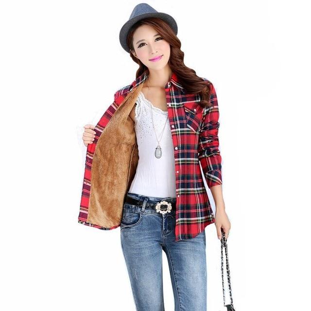 2016 Inverno Quente New Hot Moda Multicolor Mulheres Tops Camisas do revestimento do revestimento Plus Size Blusas Blusas de Lazer jovem 8898