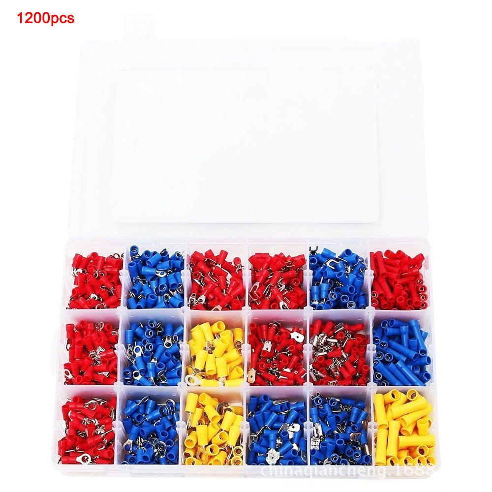 1200PCS Insulated Assortment Electrical Wire Connector Crimp Terminals Case Kit 1200pcs insulated terminal assortment kit electrical terminals