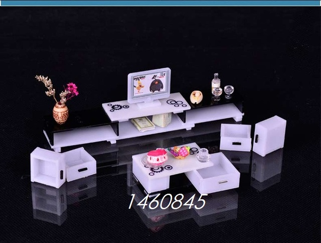 Dollhouse living room furniture Accessories Miniature  Mini cute Telescopic TV cabinet doll house scenes doll house decoration