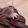 Brand new 925 sterling silver necklace  fruit garnet crystal orb pendant with box chain necklaces & pendants