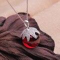 Nova marca 925 sterling silver garnet cristal orb pingente com cadeia de caixa de colar de frutas colares & pingentes
