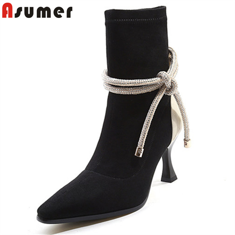 ASUMER black fashion autumn shoes woman square toe genuine leather high heels ankle boots cross tied ladies boots big size 34-42 цена
