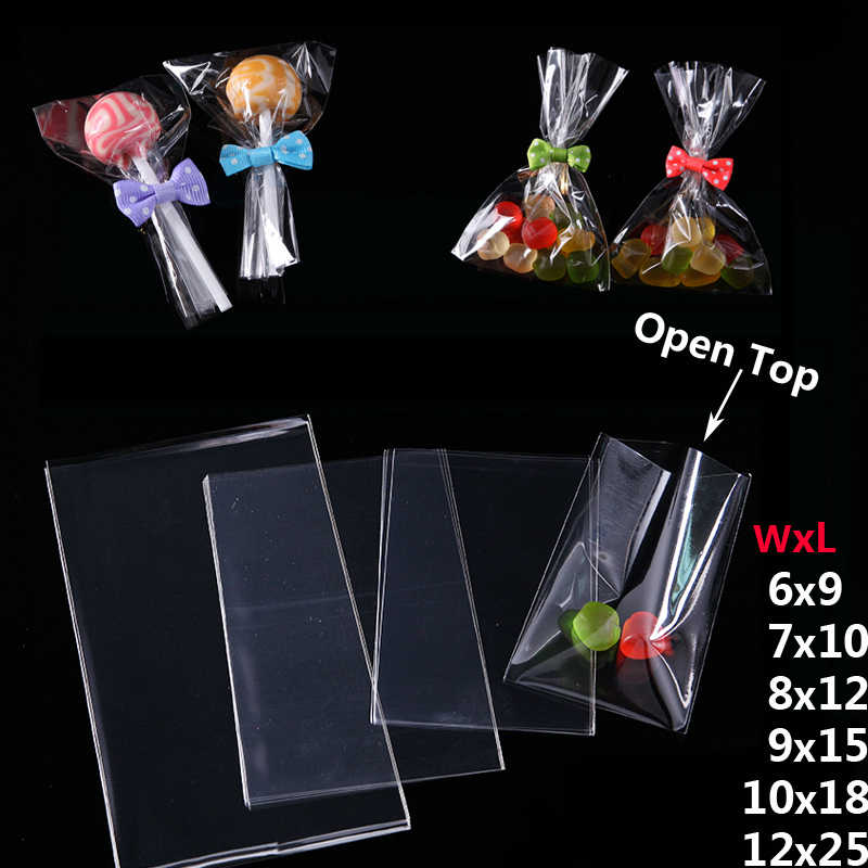 Transparent Open Top Small Plastic Bags for Candy Lollipop Cookie Packaging Cellophane Bag Wedding Party Favor Poly Opp Gift Bag