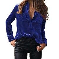 Women Spring Autumn Velvet Blouse Long Sleeve Turn Down Collar Buttons Pocket Shirt 2018 Women Tops