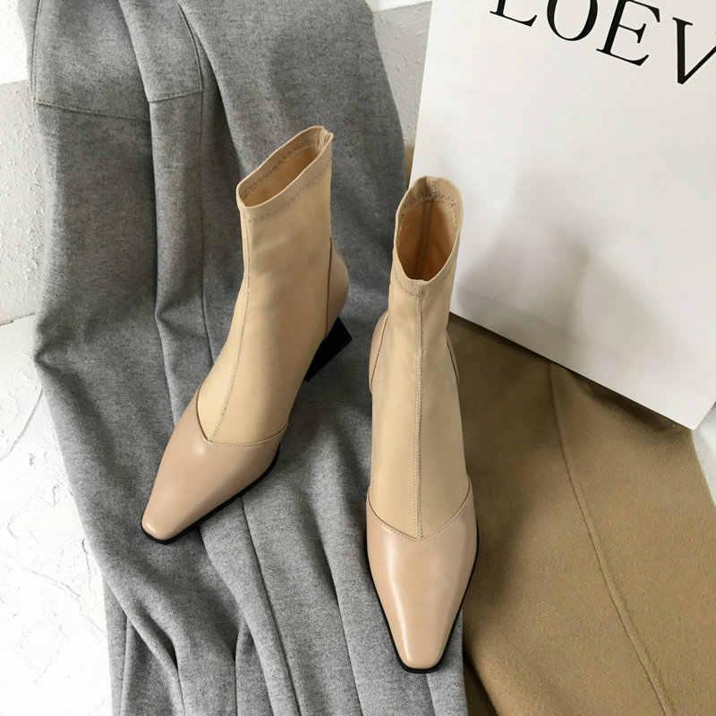 TXCNMB Yeni Inek Deri Yüksek Topuklu Çizmeler Kadın yarım çizmeler Siyah Ofis bayan resmi elbise ayakkabıları Kış Sonbahar Ayakkabı Kadın