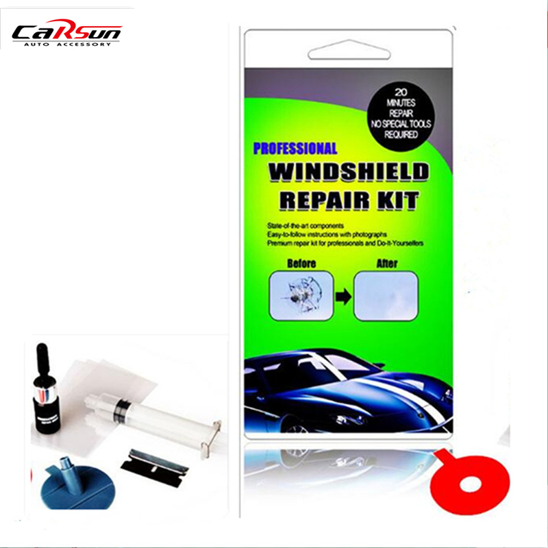 CARSUN DIY Car Windshield Repair Kit Tools Auto Glass Windscreen Cracked Set Give Door Seal Handle Protective Decorative Sticker ...