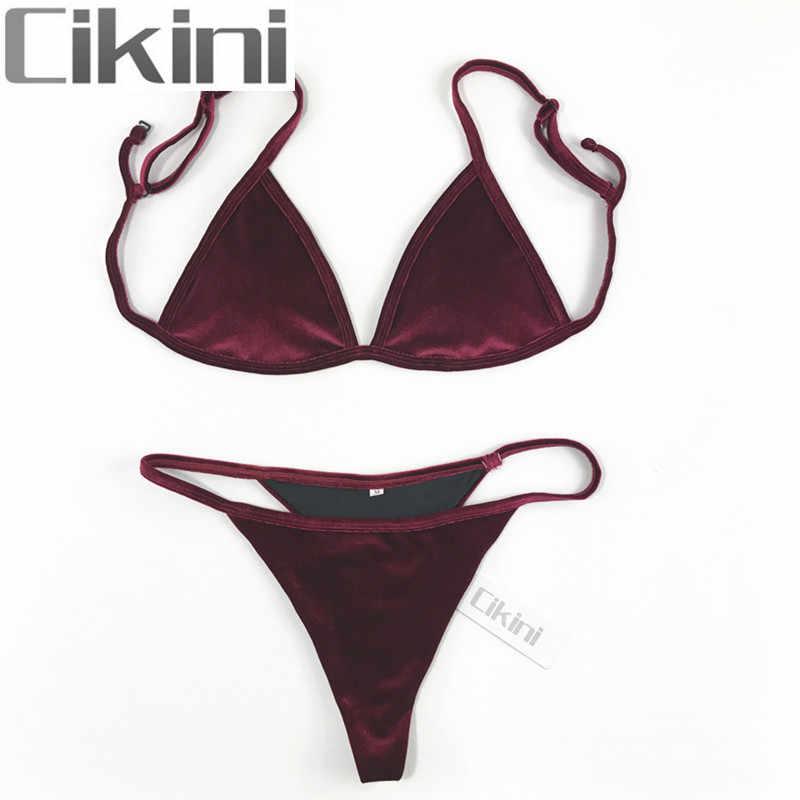 Velvet Bikini Set 2018 Women Swimsuit Monokini Bodysuit Swimming Suit  Bathing Suits Swim Halter Thong Beach 0dcd8afda