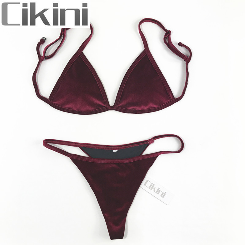 Velvet Bikini Set 2018 Women Swimsuit Monokini Bodysuit Swimming Suit Bathing Suits Swim Halter Thong Beach Swimwear Cikini