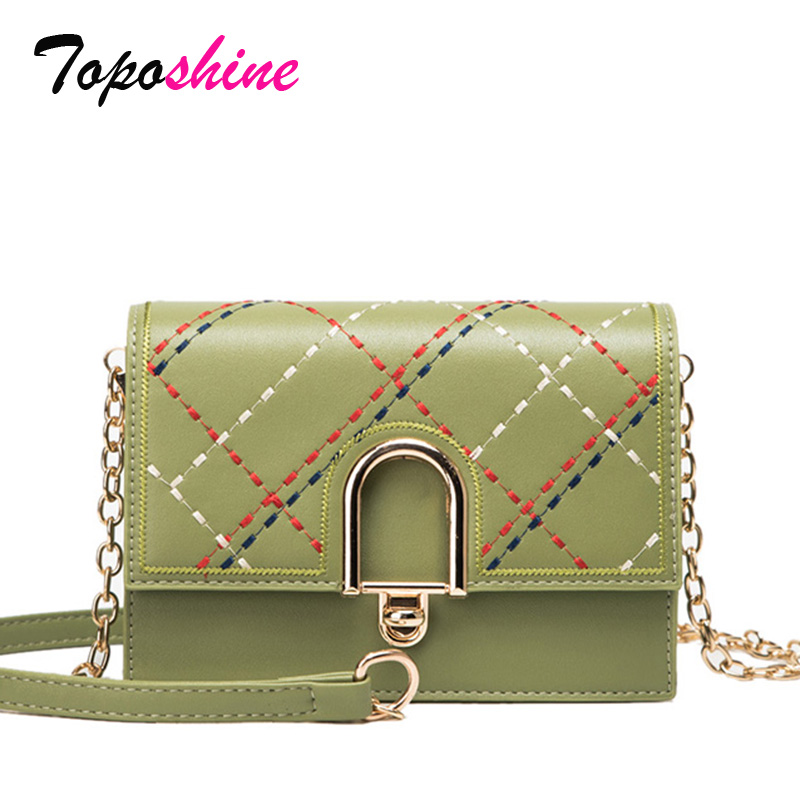 Toposhine Square Bag Shoulder-Bag Small Casual New-Fashion Ladies Lock-Lock Embroidery-Line