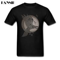 Erkekler 100% Pamuk Için Swag T-Shirt Kısa Kollu Raven Vikings Genç Giyim Erkek T-shirt