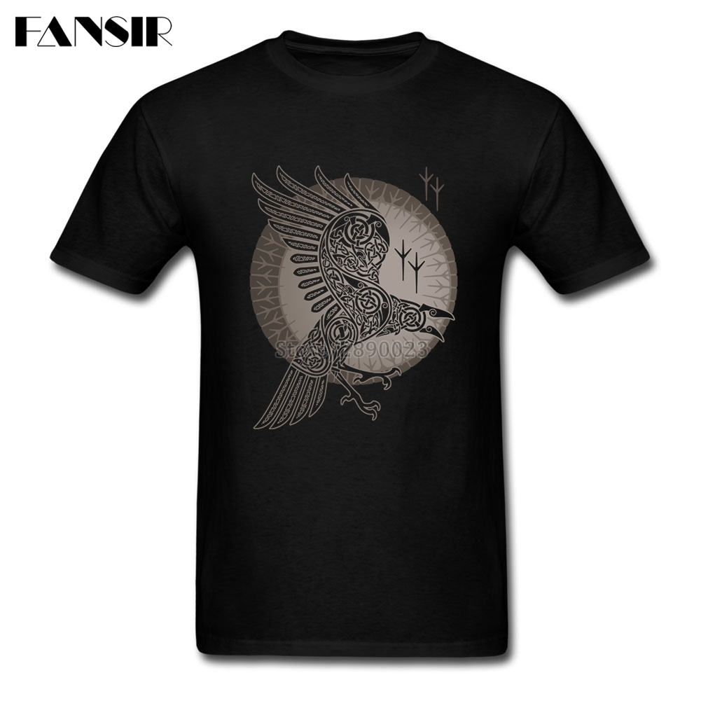 Swag T-shirts For Men 100% Cotton Short Sleeve Raven Vikings Teenage Clothing Men T-shirt