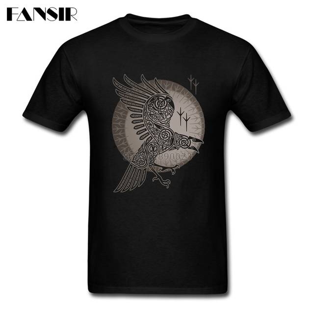 644cb8a5 Swag T-shirts For Men 100% Cotton Short Sleeve Raven Vikings Teenage  Clothing Men T-shirt