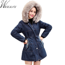 Wmwmnu Coats For Women New 2017 Winter Slim Jackets Large Raccoon Fur Collar Thick Ladies Jacket
