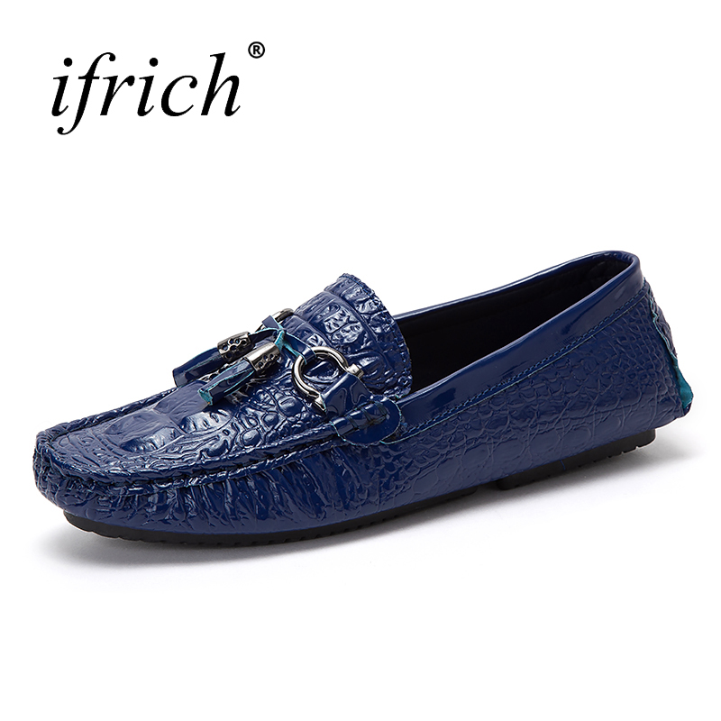 Ifrich New Arrival Leather Casual Shoes Men Slip on Mens Loafers Fashion Shoes White Blue Male Comfortable Driving Footwear wonzom high quality genuine leather brand men casual shoes fashion breathable comfort footwear for male slip on driving loafers