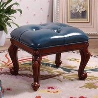 1f02 الأوروبي غرفة المعيشة المنزلي خشب متين أريكة جلدية البراز تغيير الأحذية البراز طاولة القهوة البراز مجلس صغير Deng