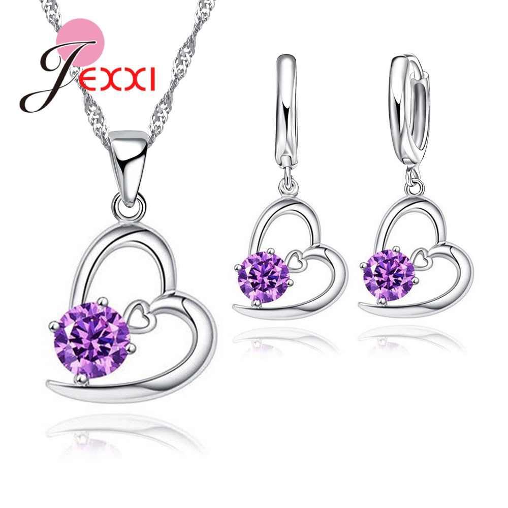 Echt 925 Sterling Silber Weiß Lila Kristalle Herz Schmuck Sets für Frauen Hochzeit Hohe Qualität Halskette Ohrringe Set